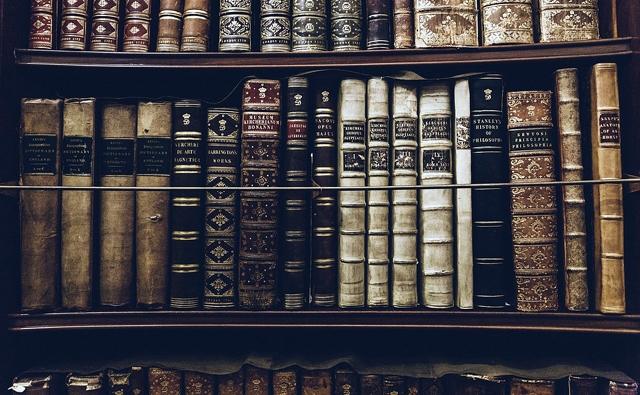 図書館にある難しそうな本の数々