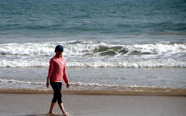 ヨガの合間に海でひと時