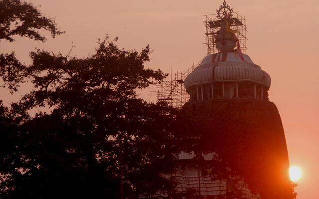 ジャガンナート寺院の夕日。