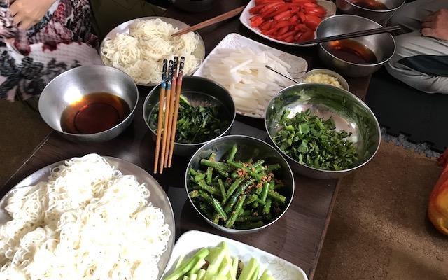 お素麺とお野菜