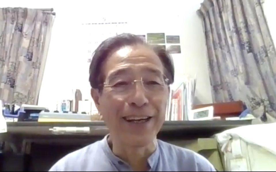 オンラインでインタビューを受ける坂本さんの父